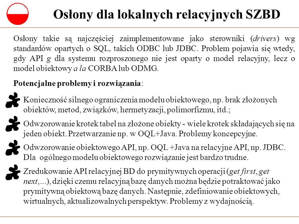 Osłony dla lokalnych relacyjnych SZBD Osłony takie są najczęściej zaimplementowane jako sterowniki (drivers) wg standardów opartych o SQL, takich ODBC