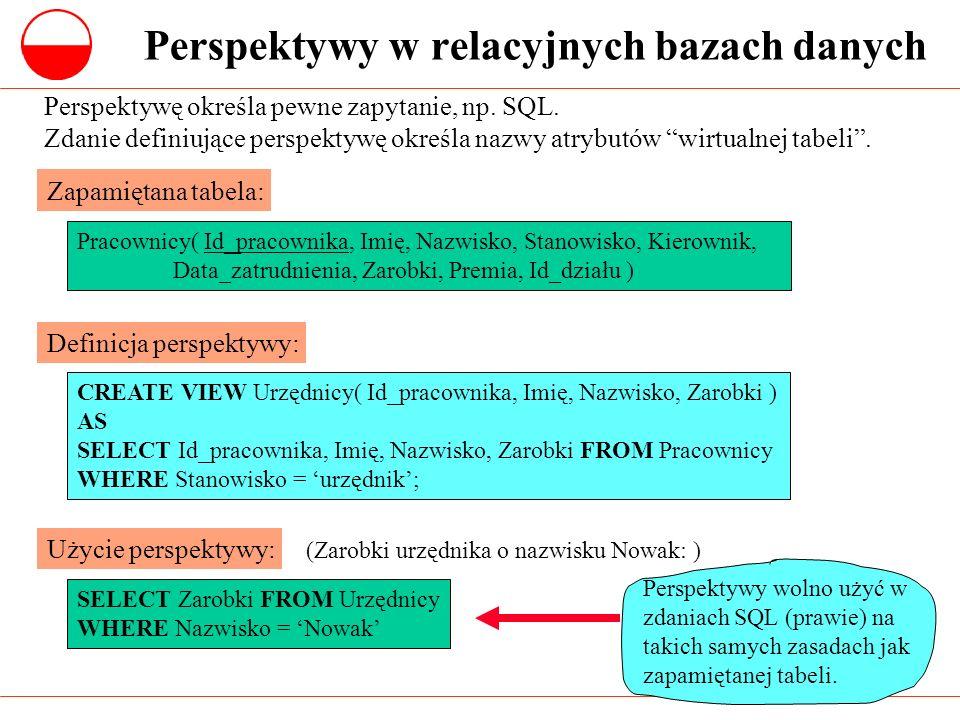 Perspektywy w relacyjnych bazach danych Perspektywę określa pewne zapytanie, np. SQL. Zdanie definiujące perspektywę określa nazwy atrybutów wirtualne