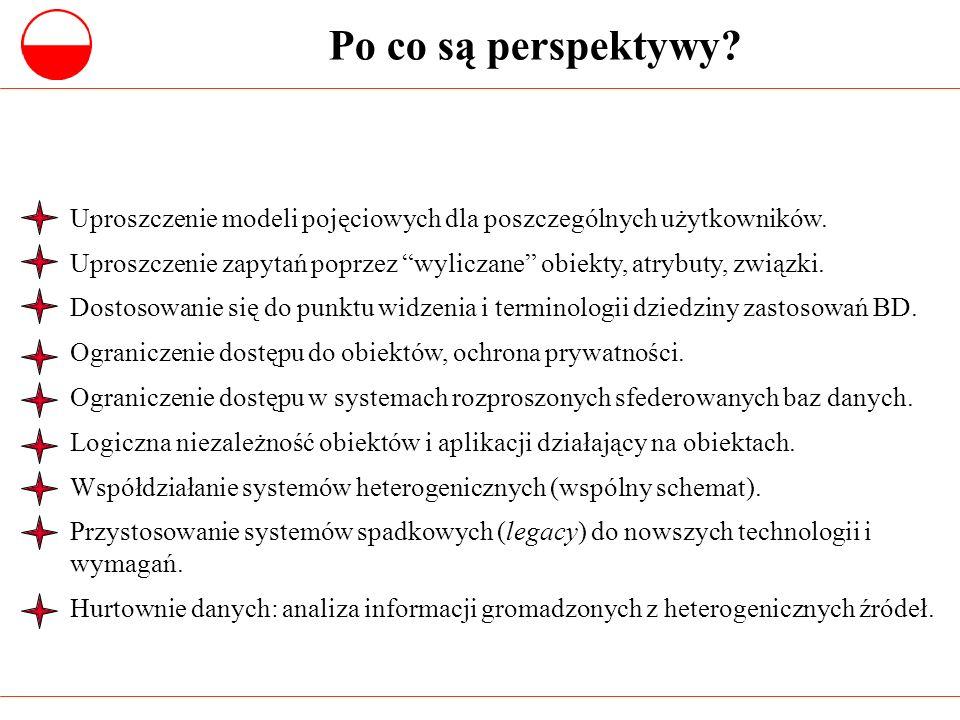 Po co są perspektywy? Uproszczenie modeli pojęciowych dla poszczególnych użytkowników. Uproszczenie zapytań poprzez wyliczane obiekty, atrybuty, związ