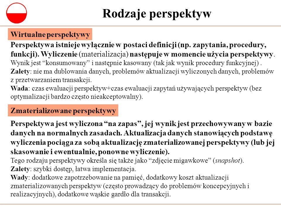 Rodzaje perspektyw Perspektywa istnieje wyłącznie w postaci definicji (np. zapytania, procedury, funkcji). Wyliczenie (materializacja) następuje w mom