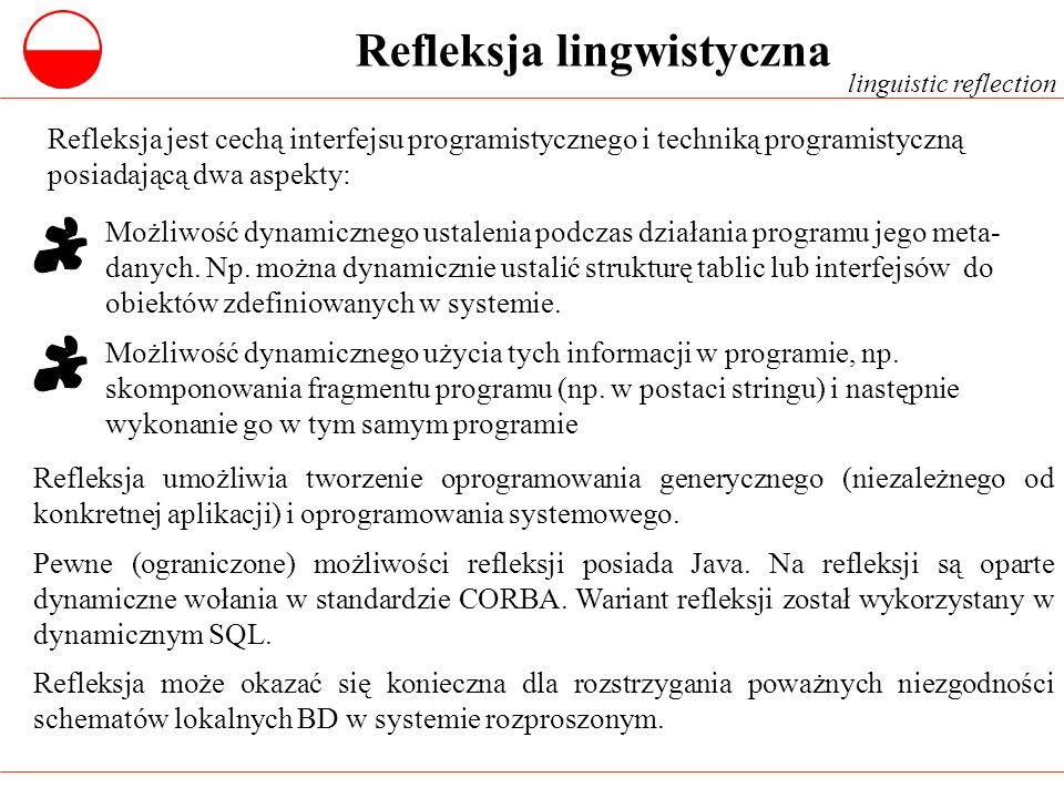 Refleksja lingwistyczna Refleksja jest cechą interfejsu programistycznego i techniką programistyczną posiadającą dwa aspekty: Refleksja umożliwia twor