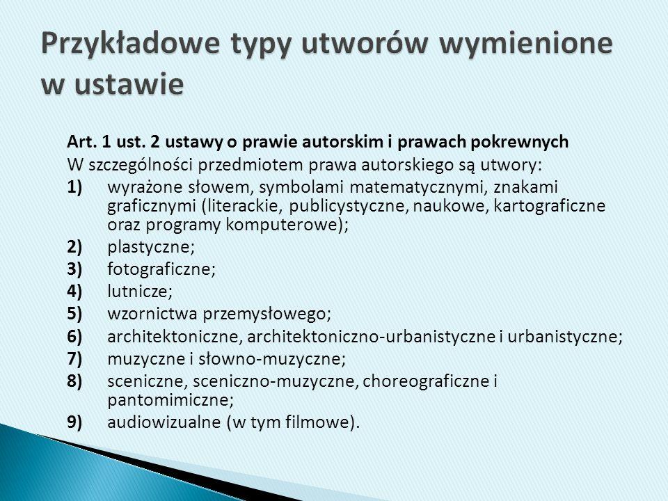 Art. 1 ust. 2 ustawy o prawie autorskim i prawach pokrewnych W szczególności przedmiotem prawa autorskiego są utwory: 1)wyrażone słowem, symbolami mat