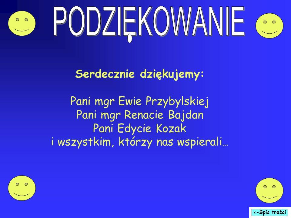 Serdecznie dziękujemy: Pani mgr Ewie Przybylskiej Pani mgr Renacie Bajdan Pani Edycie Kozak i wszystkim, którzy nas wspierali …