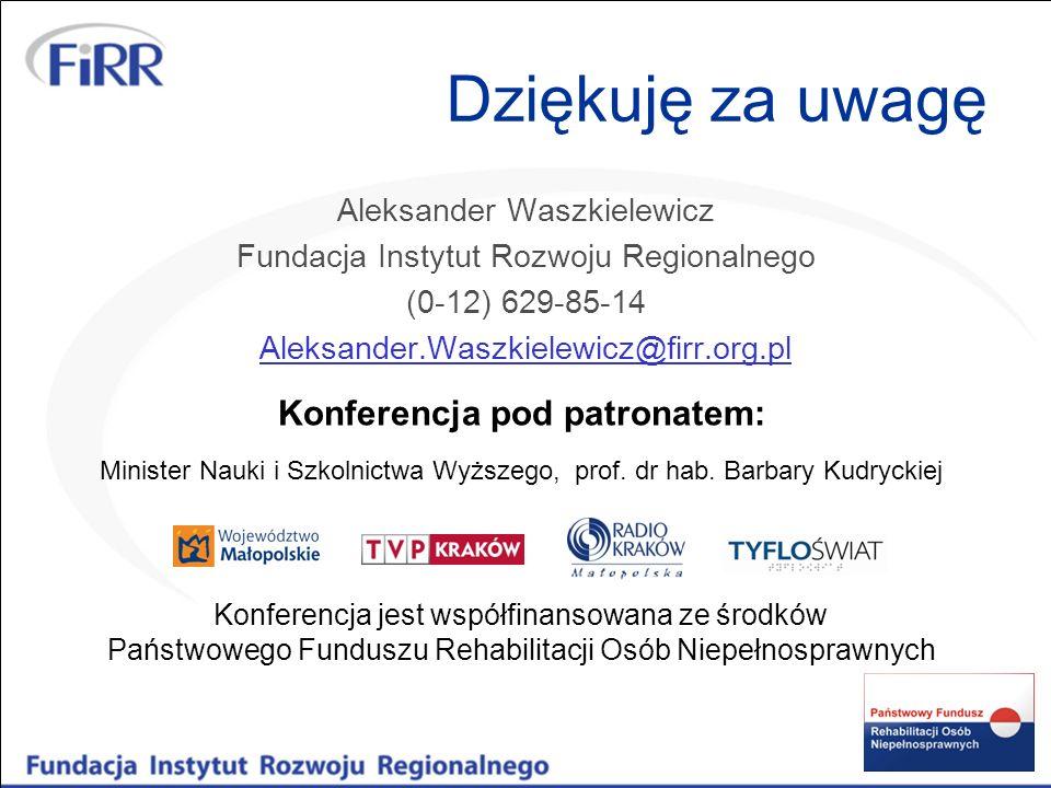 Dziękuję za uwagę Aleksander Waszkielewicz Fundacja Instytut Rozwoju Regionalnego (0-12) 629-85-14 Aleksander.Waszkielewicz@firr.org.pl Konferencja je