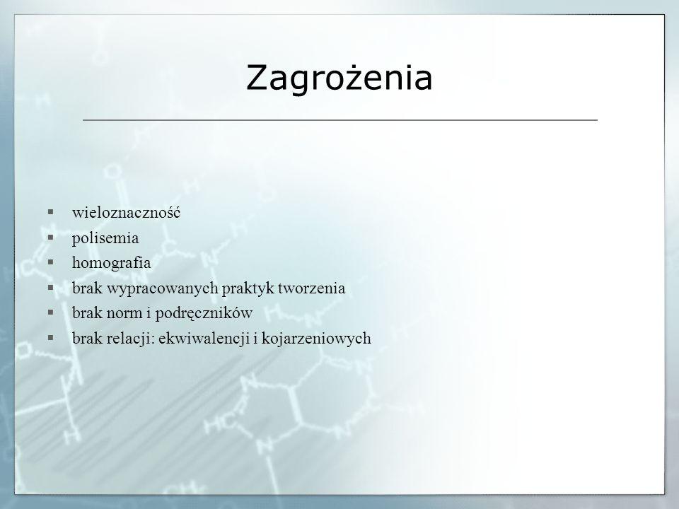 Zagrożenia wieloznaczność polisemia homografia brak wypracowanych praktyk tworzenia brak norm i podręczników brak relacji: ekwiwalencji i kojarzeniowy
