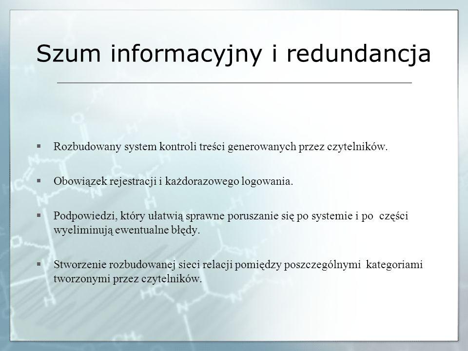 Szum informacyjny i redundancja Rozbudowany system kontroli treści generowanych przez czytelników. Obowiązek rejestracji i każdorazowego logowania. Po