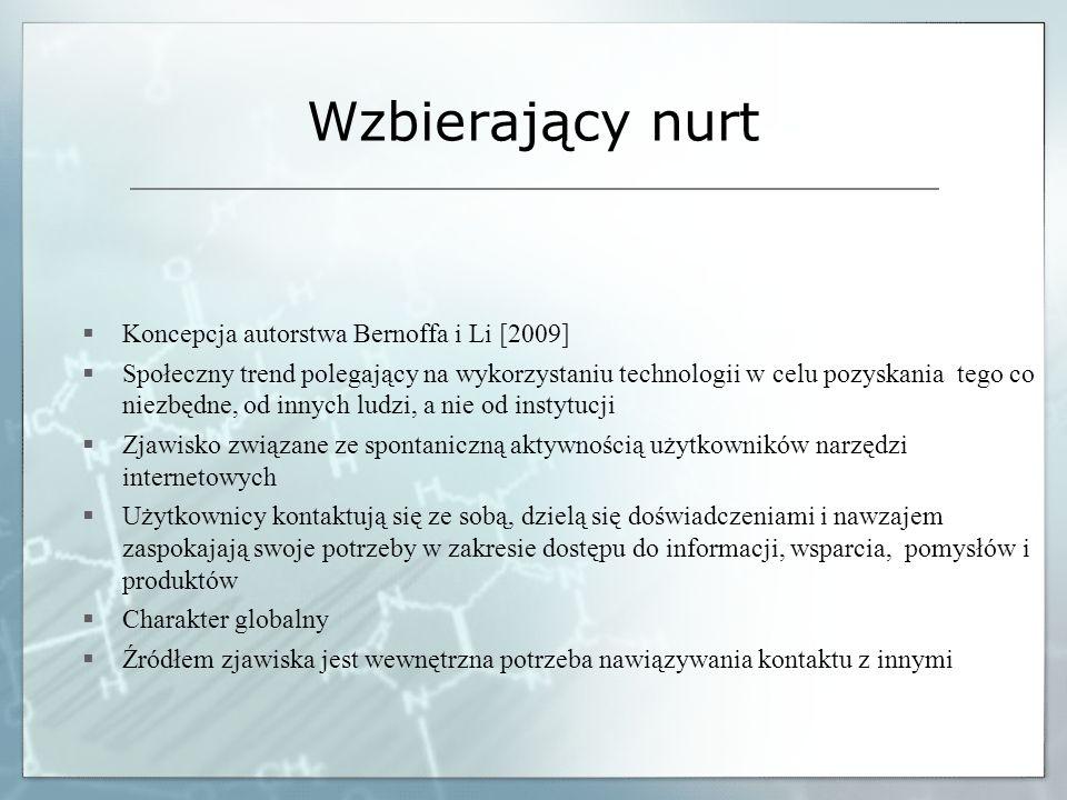 Wzbierający nurt Koncepcja autorstwa Bernoffa i Li [2009] Społeczny trend polegający na wykorzystaniu technologii w celu pozyskania tego co niezbędne,
