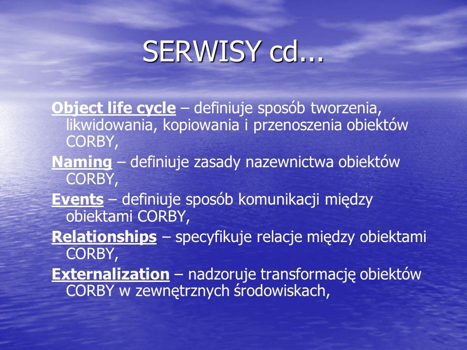 SERWISY cd... Object life cycle – definiuje sposób tworzenia, likwidowania, kopiowania i przenoszenia obiektów CORBY, Naming – definiuje zasady nazewn