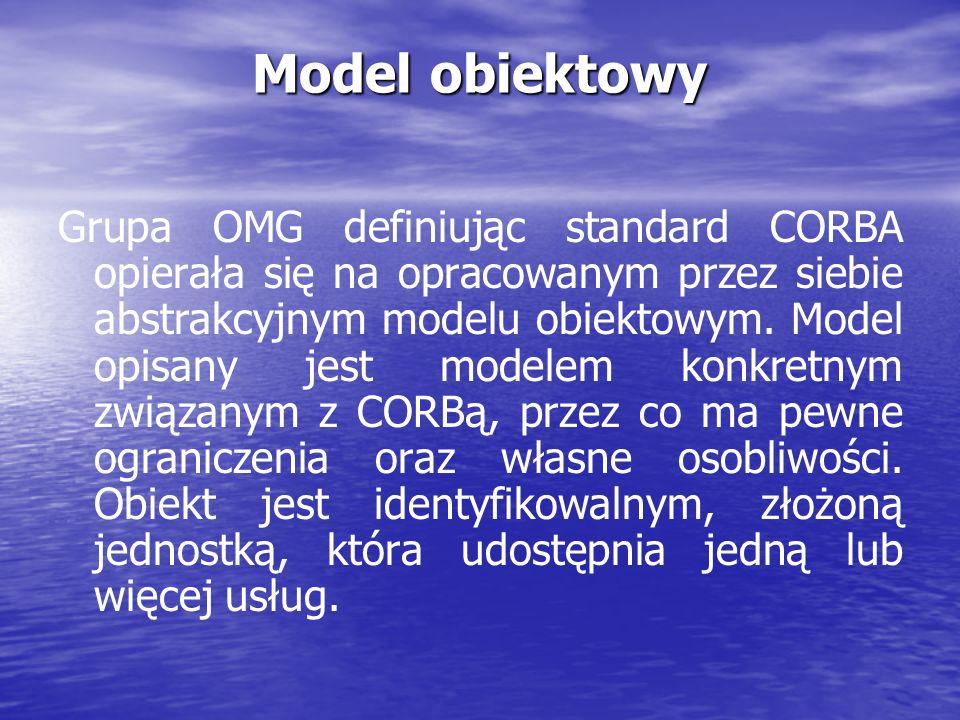 Model obiektowy Grupa OMG definiując standard CORBA opierała się na opracowanym przez siebie abstrakcyjnym modelu obiektowym. Model opisany jest model