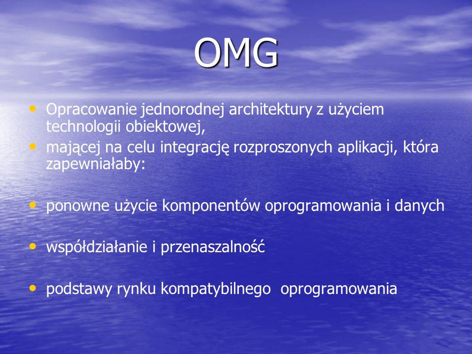 OMG Opracowanie jednorodnej architektury z użyciem technologii obiektowej, mającej na celu integrację rozproszonych aplikacji, która zapewniałaby: pon