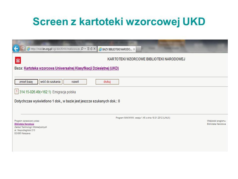 Screen z kartoteki wzorcowej UKD 821.162.1(091)19 94(438).083 314.15-026.49(=162.1) 008(4) 82(091)19