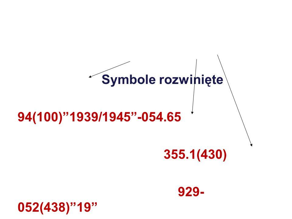 Symbole rozwinięte 94(100)1939/1945-054.65 355.1(430) 929- 052(438)19