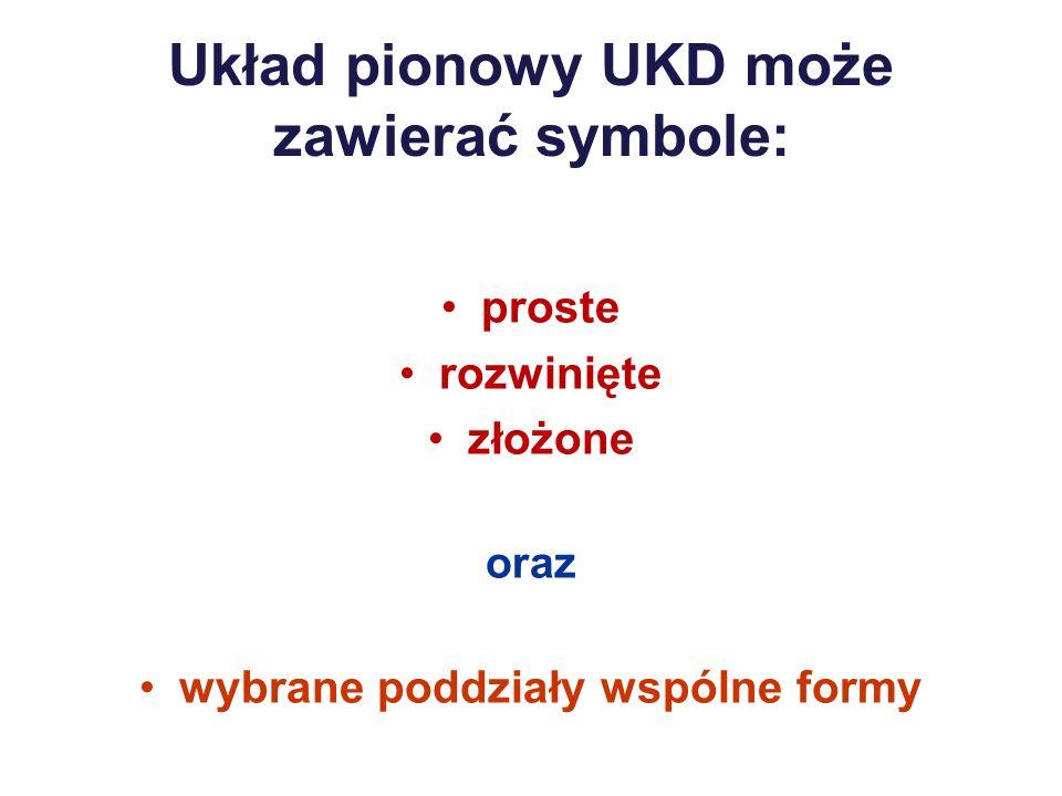 Układ pionowy UKD może zawierać symbole: proste rozwinięte złożone oraz wybrane poddziały wspólne formy