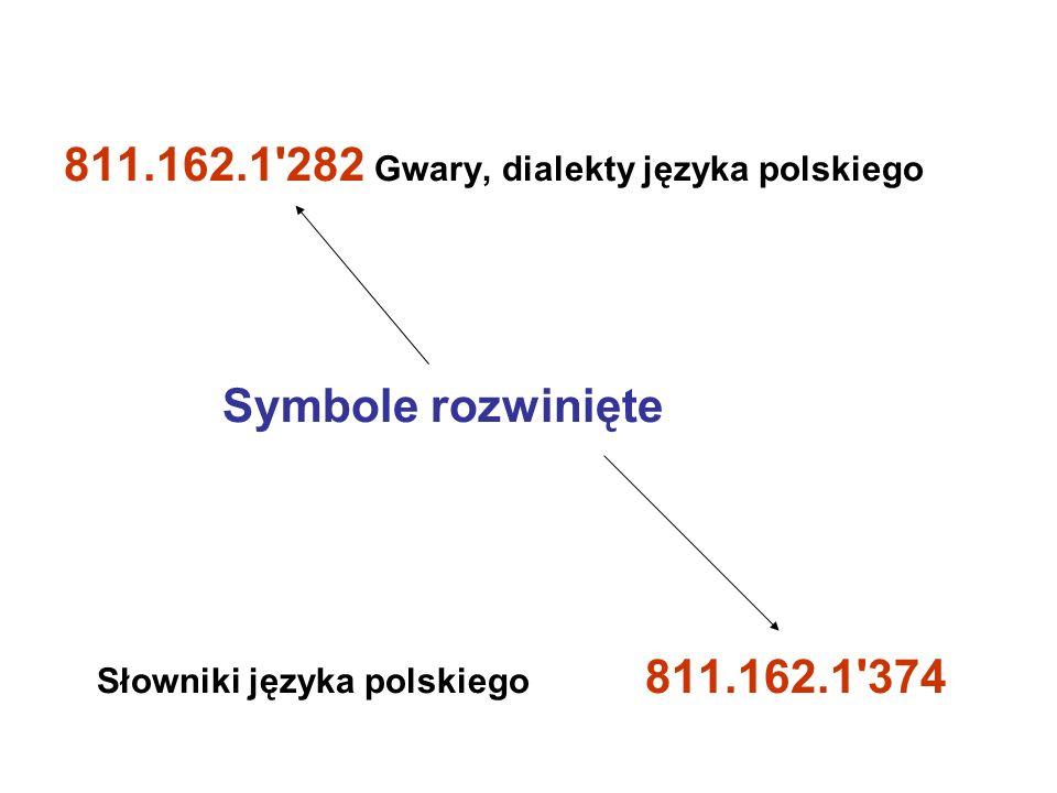 811.162.1'282 Gwary, dialekty języka polskiego Symbole rozwinięte Słowniki języka polskiego 811.162.1'374