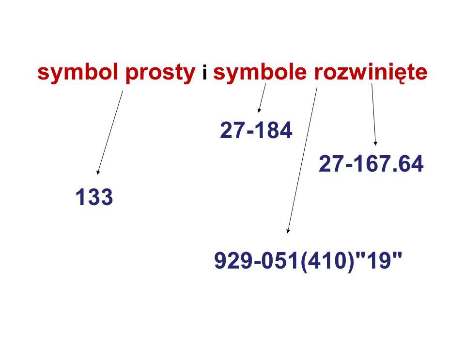 symbol prosty i symbole rozwinięte 27-184 27-167.64 133 929-051(410)