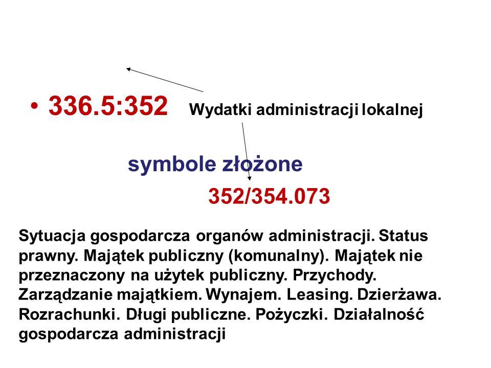 336.5:352 Wydatki administracji lokalnej symbole złożone 352/354.073 Sytuacja gospodarcza organów administracji. Status prawny. Majątek publiczny (kom