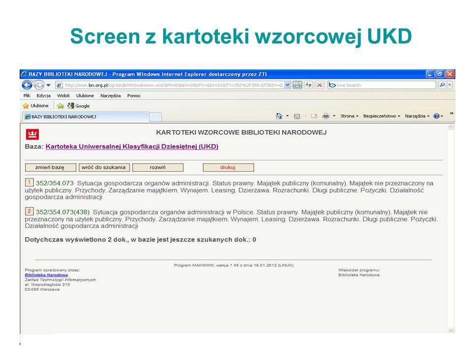 Screen z kartoteki wzorcowej UKD