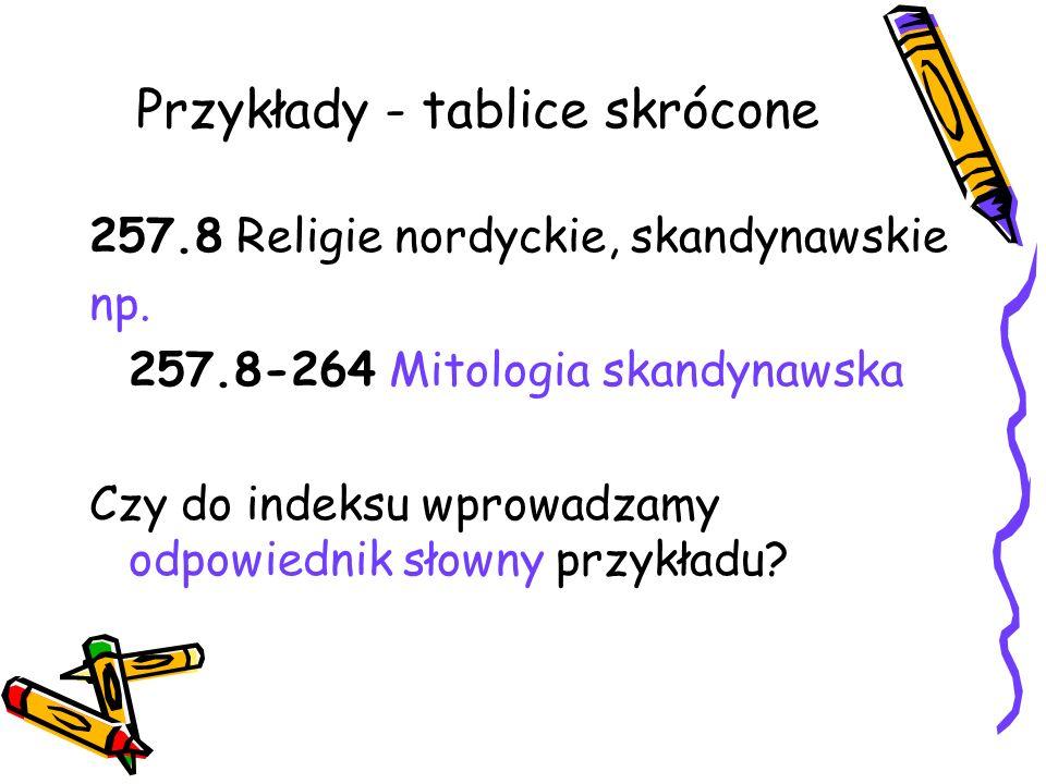 Przykłady - tablice skrócone 257.8 Religie nordyckie, skandynawskie np. 257.8-264 Mitologia skandynawska Czy do indeksu wprowadzamy odpowiednik słowny