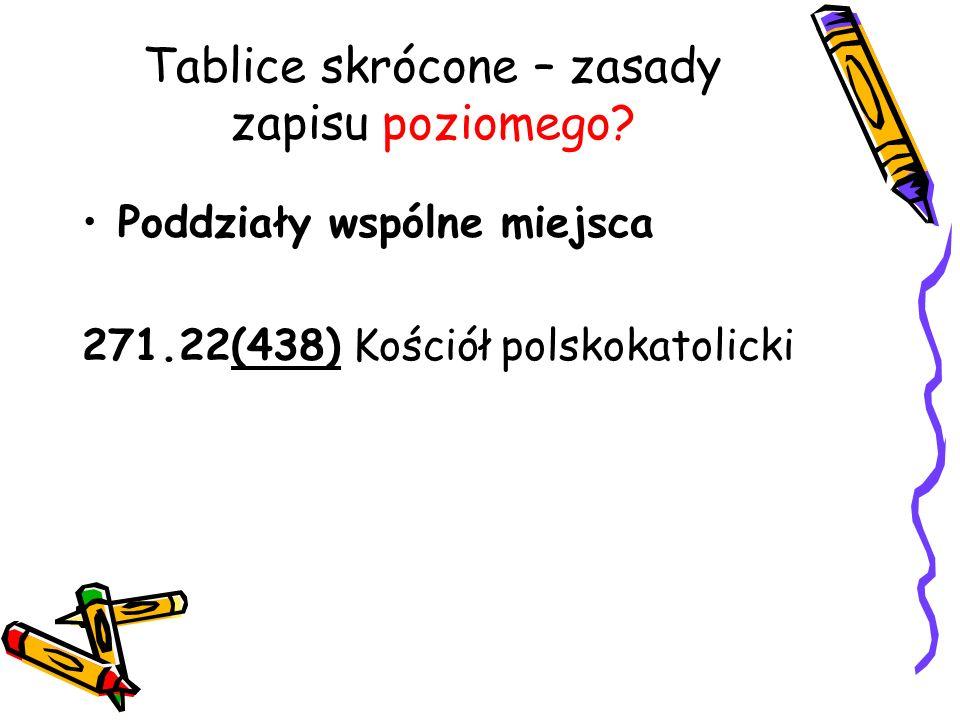 Tablice skrócone – zasady zapisu poziomego? Poddziały wspólne miejsca 271.22(438) Kościół polskokatolicki