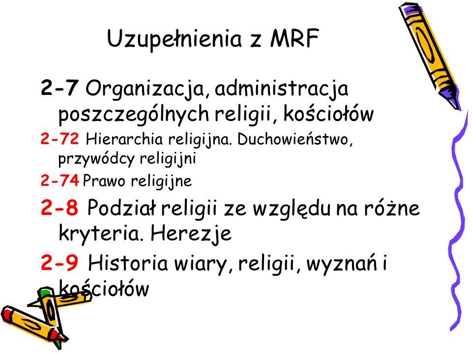 Uzupełnienia z MRF 2-7 Organizacja, administracja poszczególnych religii, kościołów 2-72 Hierarchia religijna. Duchowieństwo, przywódcy religijni 2-74