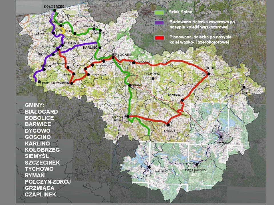 Szlak Solny Budowana ścieżka rowerowa po nasypie kolejki wąskotorowej Planowana ścieżka po nasypie kolei wąsko- i szerokotorowej KOŁOBRZEG BOGUCINO KARLINO BIAŁOGARD DOBROWO BARDY WRZOSOWO MIERZYN OSÓWKO SŁAWOBORZE SZCZECINEK BARWICE POŁCZYN ZDRÓJ GOŚCINO LEPINO SŁOWENKOWO PŁAWĘCINO CHARZYNO TRZYNIK J.