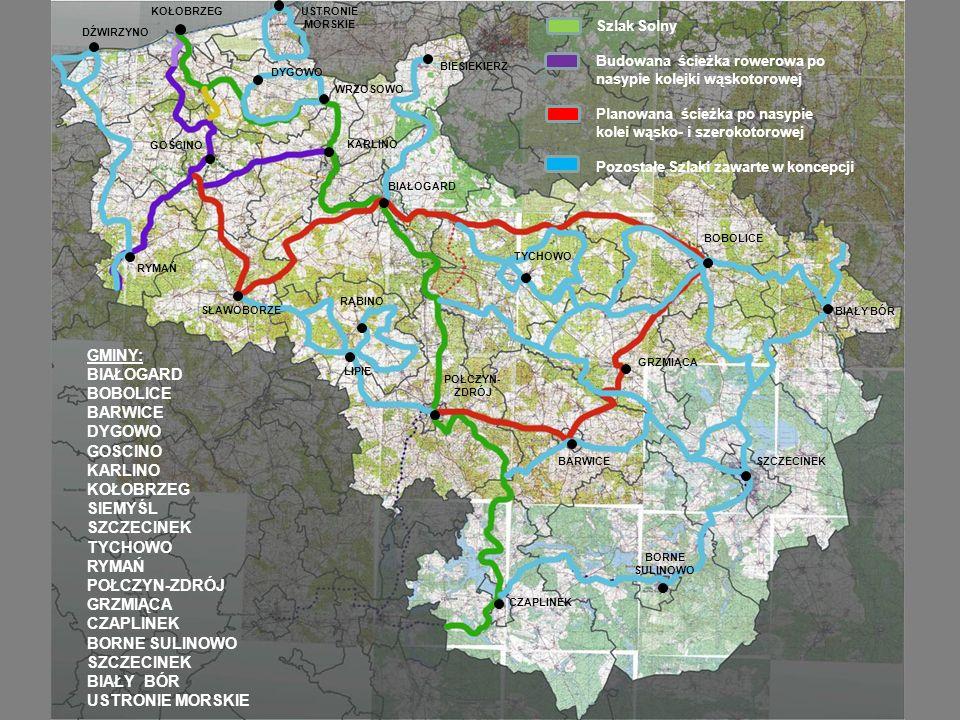 Szlak Solny Budowana ścieżka rowerowa po nasypie kolejki wąskotorowej Planowana ścieżka po nasypie kolei wąsko- i szerokotorowej Pozostałe Szlaki zawa