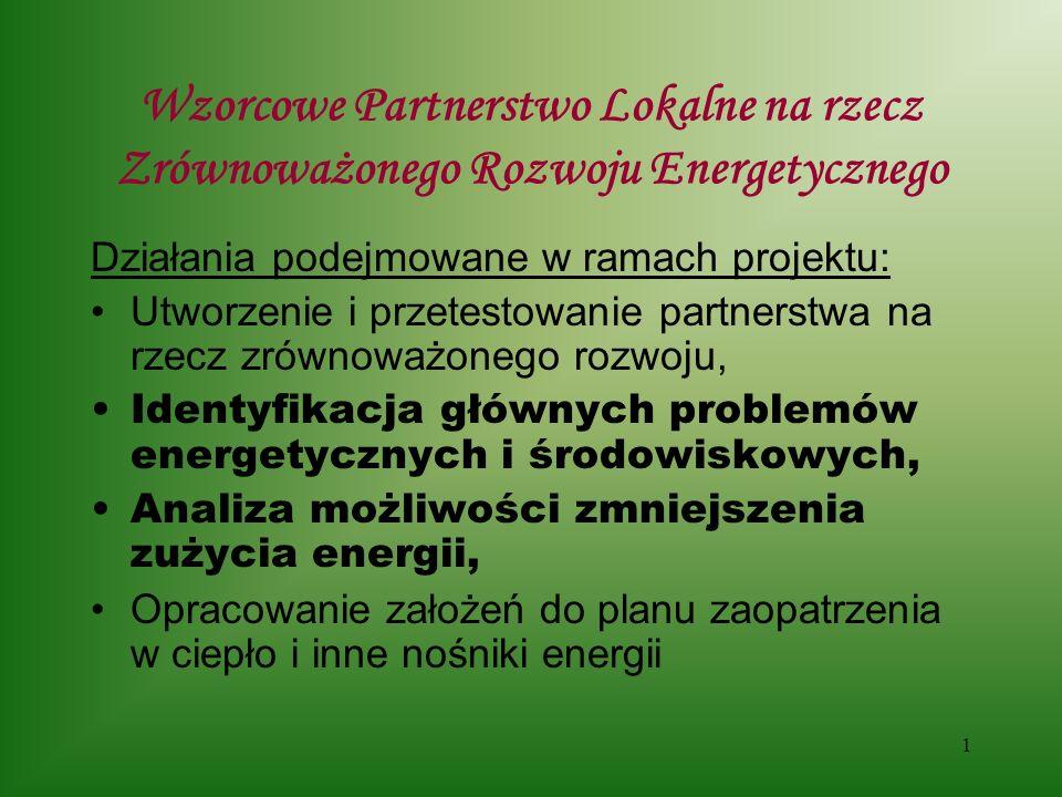12 Wzorcowe Partnerstwo Lokalne na rzecz Zrównoważonego Rozwoju Energetycznego Propozycje wykorzystania lokalnych zasobów Energii - kogeneracja Potencjał gospodarki skojarzonej ( kogeneracji ) ???, silnik 50kW/75kW - produkcja energii elektrycznej – 250 MWh/rok ( 35.000 zł) - produkcja ciepła – 1.350 GJ/rok ( 73000zł) - ceny: energia elektryczna –140 zł/MWh, ciepło – 54 zł/GJ