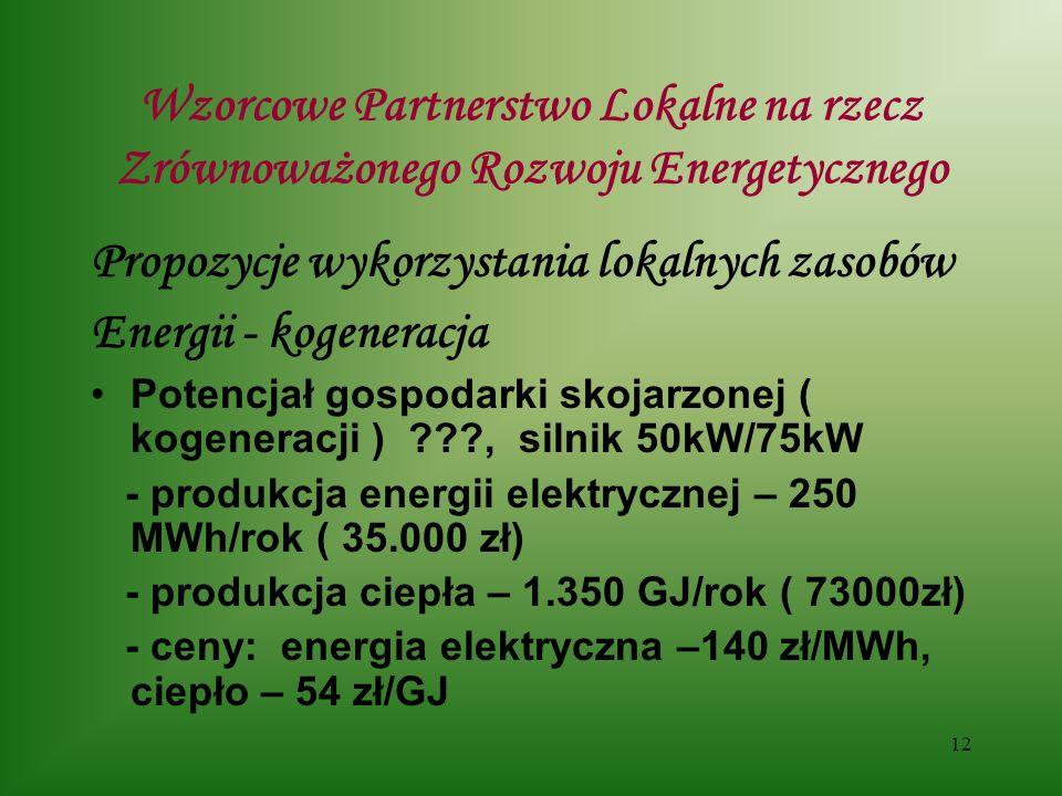 12 Wzorcowe Partnerstwo Lokalne na rzecz Zrównoważonego Rozwoju Energetycznego Propozycje wykorzystania lokalnych zasobów Energii - kogeneracja Potencjał gospodarki skojarzonej ( kogeneracji ) , silnik 50kW/75kW - produkcja energii elektrycznej – 250 MWh/rok ( 35.000 zł) - produkcja ciepła – 1.350 GJ/rok ( 73000zł) - ceny: energia elektryczna –140 zł/MWh, ciepło – 54 zł/GJ