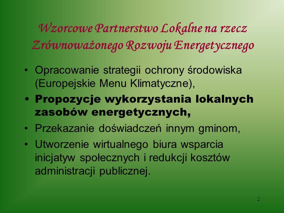 2 Wzorcowe Partnerstwo Lokalne na rzecz Zrównoważonego Rozwoju Energetycznego Opracowanie strategii ochrony środowiska (Europejskie Menu Klimatyczne), Propozycje wykorzystania lokalnych zasobów energetycznych, Przekazanie doświadczeń innym gminom, Utworzenie wirtualnego biura wsparcia inicjatyw społecznych i redukcji kosztów administracji publicznej.