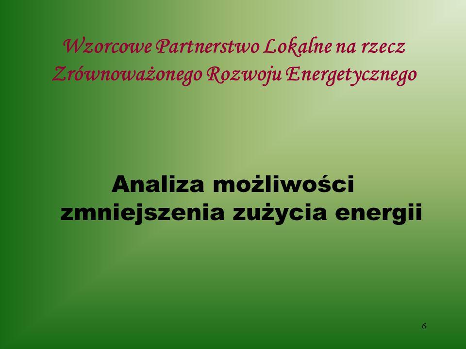 6 Wzorcowe Partnerstwo Lokalne na rzecz Zrównoważonego Rozwoju Energetycznego Analiza możliwości zmniejszenia zużycia energii