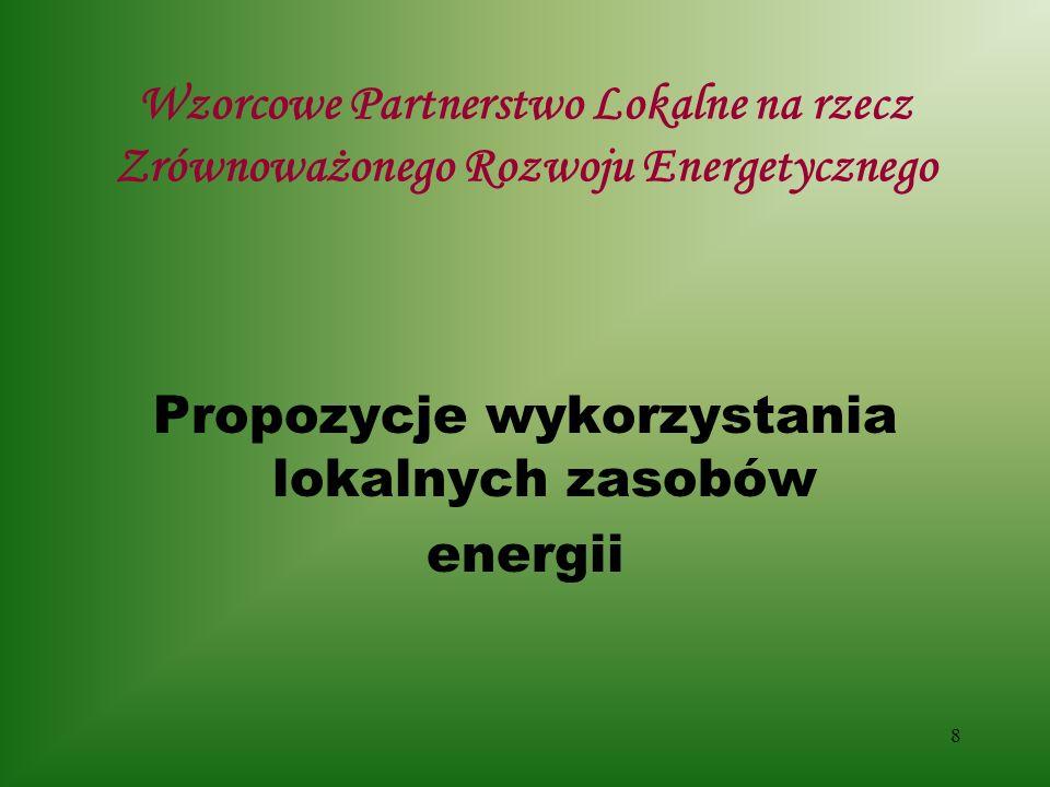 8 Wzorcowe Partnerstwo Lokalne na rzecz Zrównoważonego Rozwoju Energetycznego Propozycje wykorzystania lokalnych zasobów energii