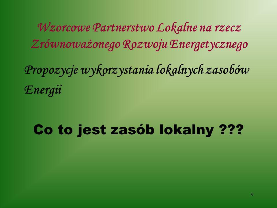 10 Wzorcowe Partnerstwo Lokalne na rzecz Zrównoważonego Rozwoju Energetycznego Propozycje wykorzystania lokalnych zasobów Energii Potencjał oszczędności energii – 162.500 l oleju/rok, czyli do 292.500 zł/rok Biomasa drzewna – do 110 m3 drewna/rok - ????