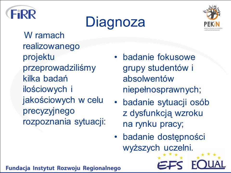 Diagnoza W ramach realizowanego projektu przeprowadziliśmy kilka badań ilościowych i jakościowych w celu precyzyjnego rozpoznania sytuacji: badanie fo