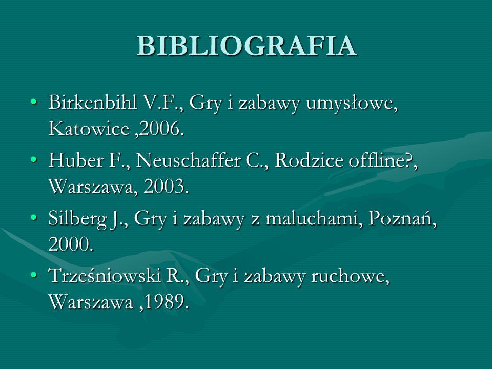 BIBLIOGRAFIA Birkenbihl V.F., Gry i zabawy umysłowe, Katowice,2006.Birkenbihl V.F., Gry i zabawy umysłowe, Katowice,2006. Huber F., Neuschaffer C., Ro