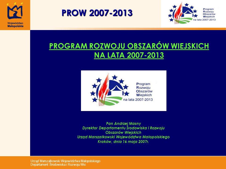 Urząd Marszałkowski Województwa Małopolskiego Departament Środowiska i Rozwoju Wsi PROW 2007-2013 PROGRAM ROZWOJU OBSZARÓW WIEJSKICH NA LATA 2007-2013