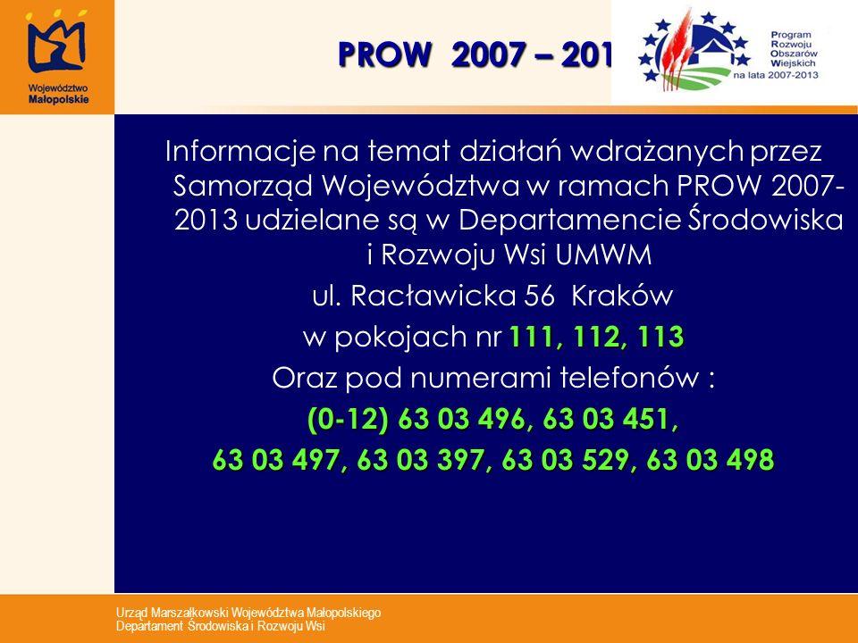 Urząd Marszałkowski Województwa Małopolskiego Departament Środowiska i Rozwoju Wsi PROW 2007 – 2013 Informacje na temat działań wdrażanych przez Samor