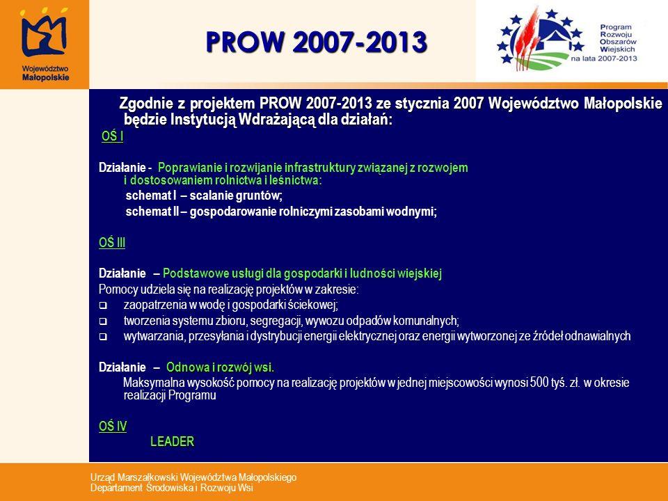 Urząd Marszałkowski Województwa Małopolskiego Departament Środowiska i Rozwoju Wsi PROW 2007-2013 Zgodnie z projektem PROW 2007-2013 ze stycznia 2007