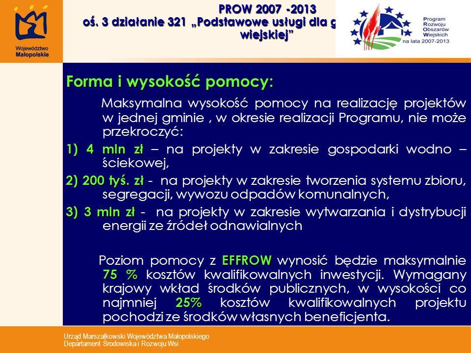 Urząd Marszałkowski Województwa Małopolskiego Departament Środowiska i Rozwoju Wsi PROW 2007 -2013 oś. 3 działanie 321 Podstawowe usługi dla gospodark