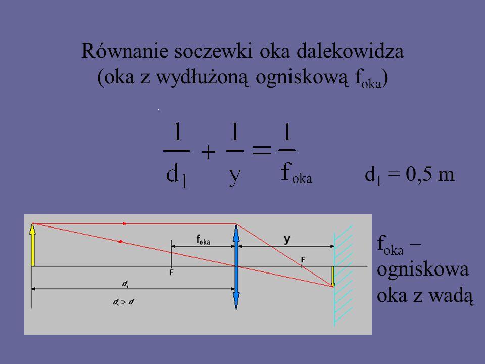 Zadanie Optymalna odległość z jakiej czyta człowiek bez okularów wynosi 0,5 m.