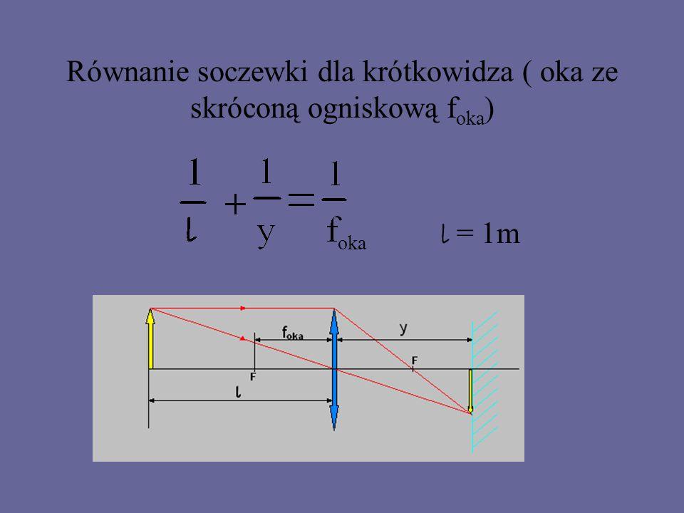 Zadanie: Odległość, z jakiej pewien krótkowidz może jeszcze wyraźnie dostrzegać przedmioty wynosi 1 m.