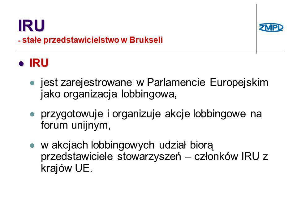 IRU - stałe przedstawicielstwo w Brukseli IRU IRU jest zarejestrowane w Parlamencie Europejskim jako organizacja lobbingowa, przygotowuje i organizuje