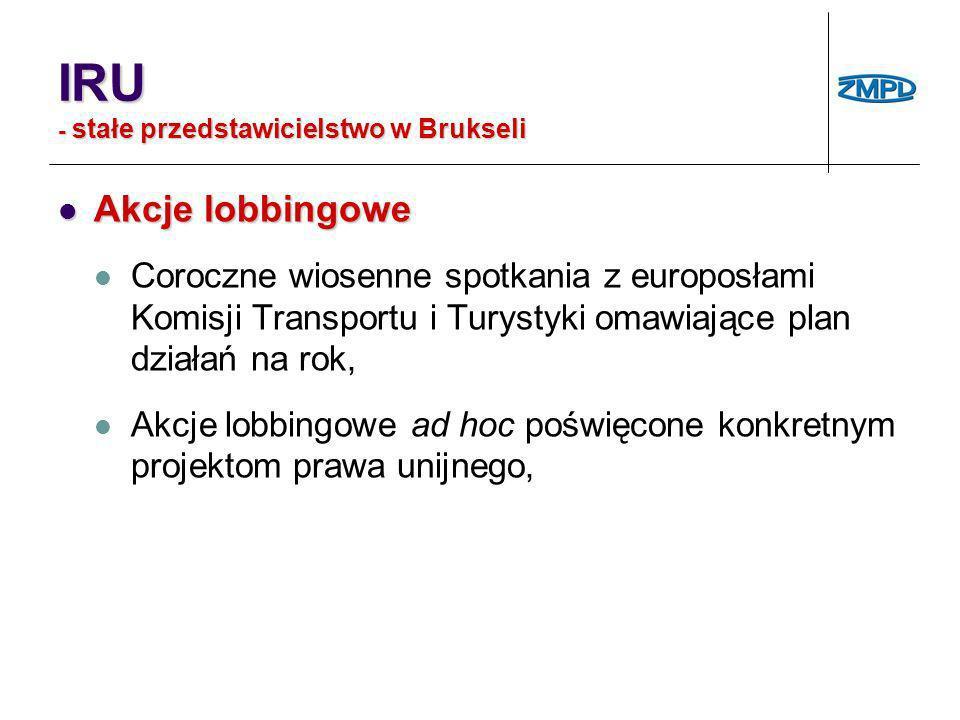 IRU - stałe przedstawicielstwo w Brukseli Akcje lobbingowe Akcje lobbingowe Coroczne wiosenne spotkania z europosłami Komisji Transportu i Turystyki o