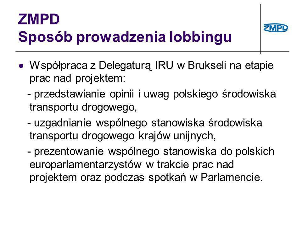 ZMPD Sposób prowadzenia lobbingu Współpraca z Delegaturą IRU w Brukseli na etapie prac nad projektem: - przedstawianie opinii i uwag polskiego środowi