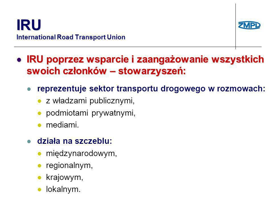 IRU International Road Transport Union Współpraca z: Współpraca z: Europejską Komisją Gospodarczą (ONZ), Światową Organizacją Handlu (WTO), Bankiem Światowym (WB), Światową Organizacją Celną (WCO), Międzynarodowym Forum Transportu (ITF) oraz regionalnymi partnerami a także międzynarodowymi stowarzyszeniami reprezentującymi inne sektory powiązane z handlem i transportem