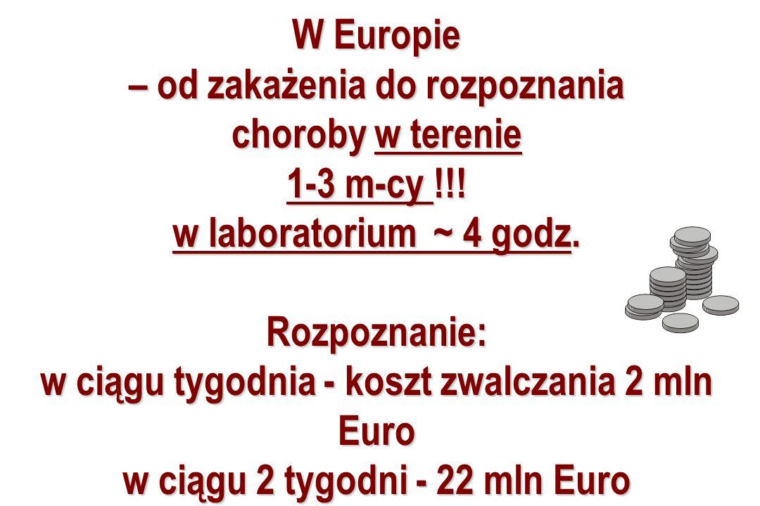 W Europie – od zakażenia do rozpoznania choroby w terenie 1-3 m-cy !!! w laboratorium ~ 4 godz. Rozpoznanie: w ciągu tygodnia - koszt zwalczania 2 mln