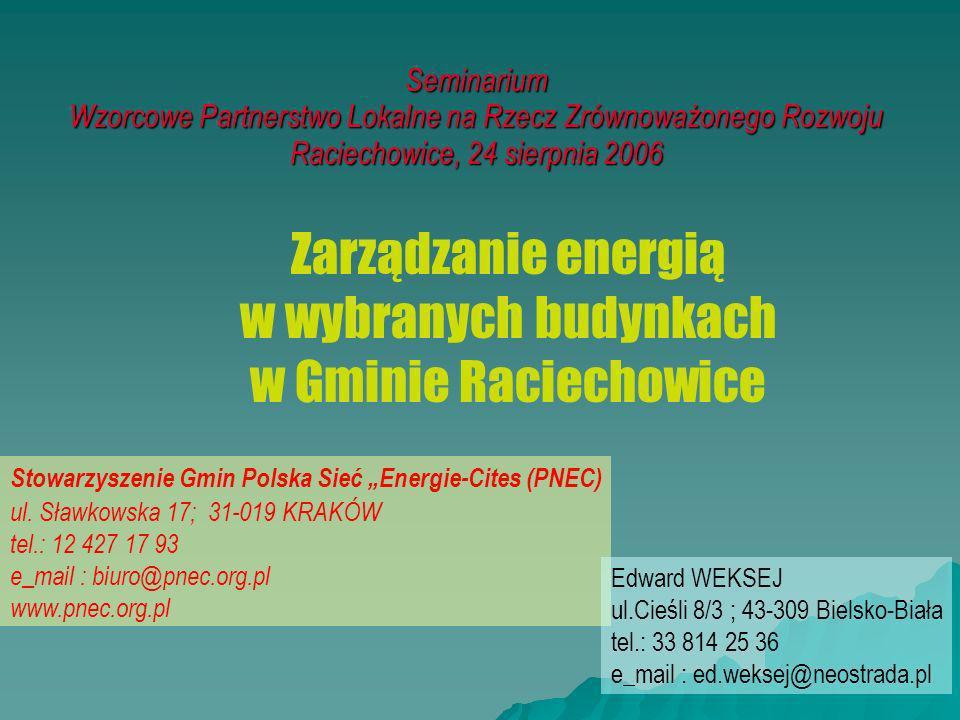 Seminarium Wzorcowe Partnerstwo Lokalne na Rzecz Zrównoważonego Rozwoju Raciechowice, 24 sierpnia 2006 Zarządzanie energią w wybranych budynkach w Gmi