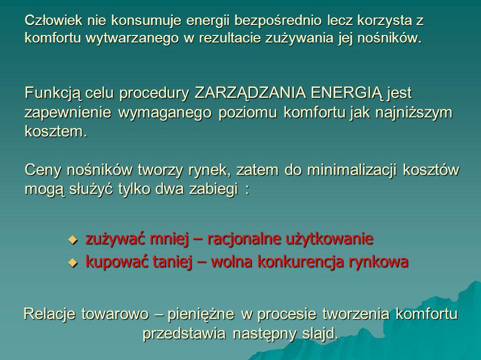Człowiek nie konsumuje energii bezpośrednio lecz korzysta z komfortu wytwarzanego w rezultacie zużywania jej nośników. Funkcją celu procedury ZARZĄDZA