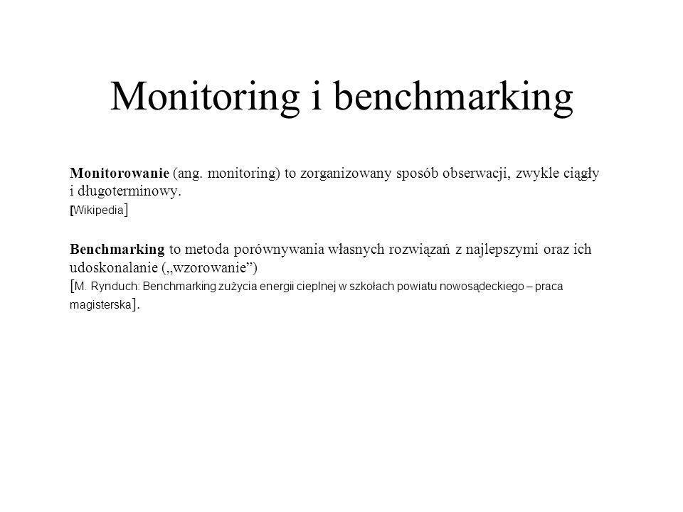 Monitoring i benchmarking Monitorowanie (ang. monitoring) to zorganizowany sposób obserwacji, zwykle ciągły i długoterminowy. [Wikipedia ] Benchmarkin