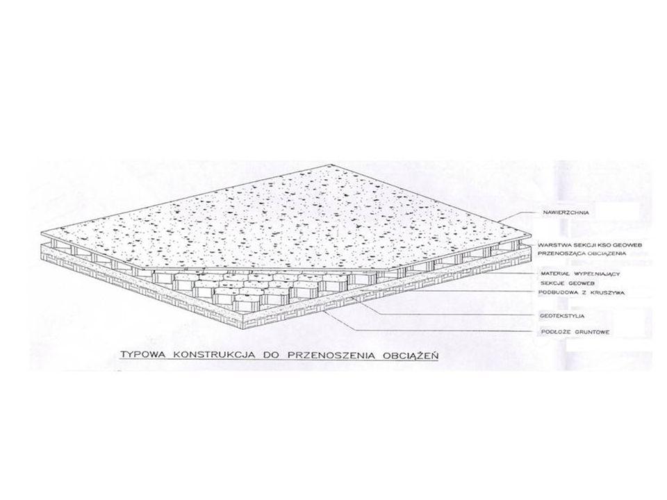 Budowa lotnisk i infrastruktury lotnictwa cywilnego i wojskowego Systemy geokomórkowe są stosowane w budowie: pasów startowych (podbudowy nawierzchni konwencjonalnych lub bezpośrednio jako nawierzchnie darniowe i gruntowe) obramowań pasów startowych (runway borders) platform do odladzania samolotów (de-icing pads) miejsc postojowych samolotów podbudów i platform gruntowych dla urządzeń specjalnych (np.wolnostojących stanowisk radarowych) zbiorników na odcieki po myciu nawierzchni lotniskowych podbudów i wanien bezpieczeństwa zbiorników paliw Systemy geokomórkowe stosuje się również w zestawach naprawczych pasów startowych lotnisk po bombardowaniach tzw.