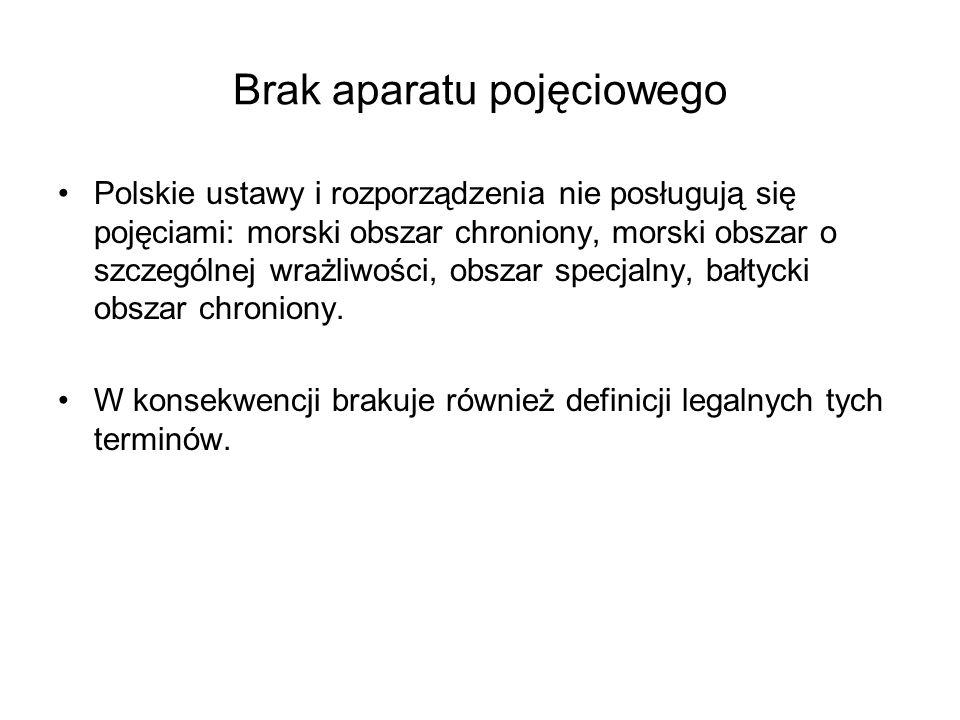 Brak aparatu pojęciowego Polskie ustawy i rozporządzenia nie posługują się pojęciami: morski obszar chroniony, morski obszar o szczególnej wrażliwości